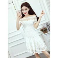 Jual Sabrina dress brukat white import elegant Murah