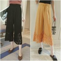 Jual c5920 celana panjang midi ceop cotton lace hitam kuning polos Murah