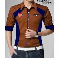 Jual Kemeja Hem Pria Cowok Brown Coklat Navy Arsenal Elegan Football Soccer Murah