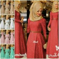 PREMIUM gamis muslim hijab gaun pesta maxi merah peach cream putih