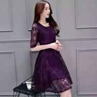 Jual Lace dress wanita import purple gratis belt dress korea brukat ungu Murah