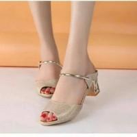 Sepatu Heels Gold Pesta Murah - High Heels Kerja - Heel Glitter Kantor