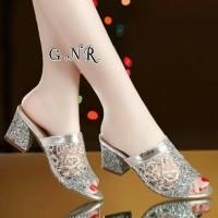 Sepatu wanita heels datar sepatu pesta silver kondangan seserahan