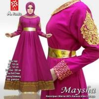 PREMIUM elegan branded mewah gamis baju pesta hijab muslim gold xl