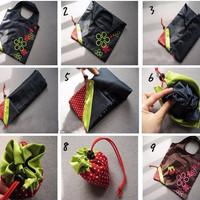 Jual Tas belanja lipat dan cadangan tas kecil bentuk strawberry - FTS009 Murah