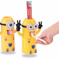 Jual Toothpaste dispenser odol & tempat sikat gigi bentuk minion HBH088 Murah