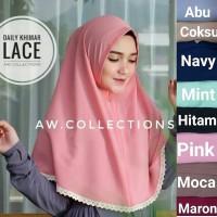 Jual dH18 Lace  kerudung bahan buble crep size  kr(kerudung,hijab,pasmina,s Murah