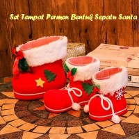 Jual Jual.. Set Tempat Permen Bentuk Sepatu Santa ( 1 set isi 3 pcs ukuran Murah