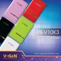 Jual Power Bank V-Gen V10K3 - 10400 mAh (Full Pack )  Murah