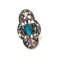Cincin Batu Biru Hijau Akik Giok Diamond Dior Choker Korea Imp