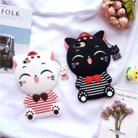 Jual iPhone 5 5s 3D Bowknot Lucky Cat Cartoon Case Cover casing bumper lucu Murah