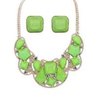 Jual [SALE] Kalung+Anting Korea Gemstone Green SET50918 Murah