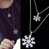 Jual [SALE] KN47237 Kalung Double Layer Silver Snowflake Murah