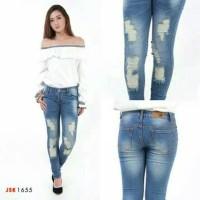 Jual Celana Ripped Skinny Jeans Wanita Celana Panjang Denim Pensil JSK Murah