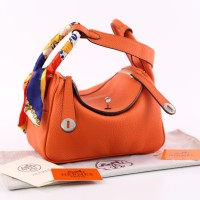 Tas Hermes Lindy 25 Togo Leather Orange Semi Premium 8819