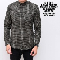 Jual KEMEJA FORMAL FLANEL 5101 LONG CHECK BLACK BROWN TERMURAH  Murah