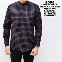 Jual KEMEJA FORMAL FLANEL 5099 LONG CHECK BLACK LIST RED HARGA DISTRIBUTOR  Murah