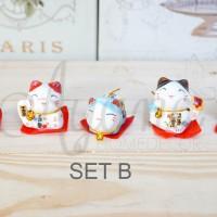 Jual Pajangan Miniature Maneki Neko Set ada 4 model dijual satuan Murah