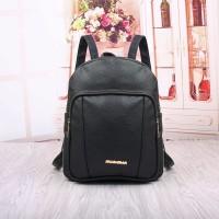Jual tas ransel baggy bag pack hitam pekat wanita kuliahan siswi pelajar pu Murah