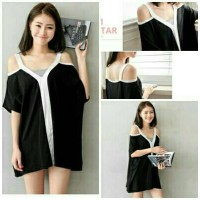 Jual cut out sabrina blouse hitam putih Murah