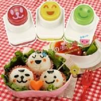 Cetakan Pencetak Cetak Sushi Nasi Rice Bento Onigiri Tools Set Nori Seaweed Cutter Puncher Mold 3in1 Face Smile Karakter Arnest