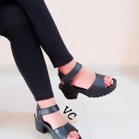 Sepatu Boot Boots Wedges High Heel Heels Morymony Docmart Hitam