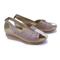 Jual Sandal Flat Kasual Wanita coklat Garsel GGS 8006 ori original murah Murah