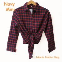 Jual kemeja flanel kotak model terbaru crop tali ikat modis murah navy mini Murah