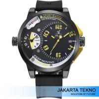 Jual Jam Tangan Pria Weide Dual Time Zone 30M UV1501 Yellow Murah