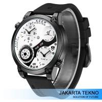 Jual Jam Tangan Pria Weide Dual Time Zone Compass UV1505 White/Black Murah