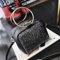 Tas Tangan Jinjing kulit leather black hitam rantai gold wanita import