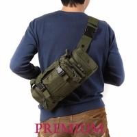 tas selempang slempang cowok pria army 3 way cordura sling waist bag