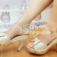 Jual Sepatu Wanita / Cewek High Heels Kokop Brukat KND Murah