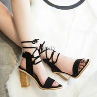 Jual Sepatu Wanita / Cewek High Heels Tahu Treeps Ballerina Hitam KND Murah
