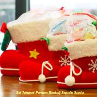Jual Murah  Set Tempat Permen Bentuk Sepatu Santa ( 1 set isi 3 pcs ukuran Murah