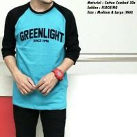 Jual Kaos Raglan Greenlight Light Blue Murah