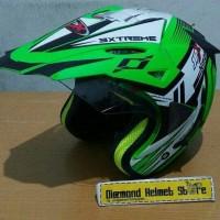 Jual helm cross JPX SUPERMOTO NMAX Green Fluo black Murah