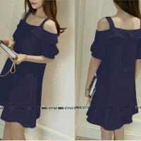 Jual dress pendek / mini dress navy sabrina cute simply midi fashion style Murah