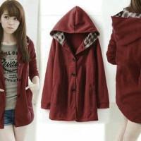 [jaket melda maroon RO] jaket wanita babyterry maroon