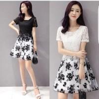 [dress flower brukat RO] dress wanita spandek hitam dan putih