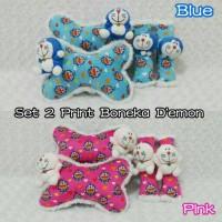Jual Set car headrest bantal jok mobil boneka doraemon blue pink fanta 2 Murah