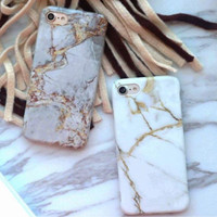 iPhone Case Casing Marble Doff Grey White Gold 6/7