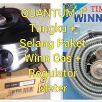 Kompor Gas Quantum 1 Tungku + Selang Gas paket Winn Gas 1.8 Meter