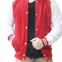 harga Jaket Polos Baseball Merah List Putih! Sweater Base Ball Murah Varsity Tokopedia.com