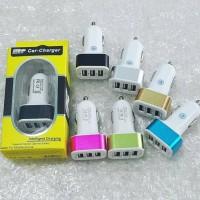 Jual Adaptor Charger Mobil / Saver Car Charger 3in1 3 Output 5.1A Surabaya Murah