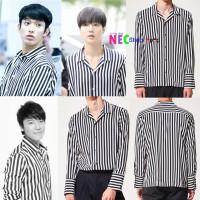 YESUNG SUPER JUNIOR , DK SEVENTEEN Neck style stripe shirt (Black)