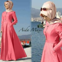 Jual Hijab Baju Muslim Maxi + Pashmina Pakaian Wanita Aida Maxi Salem Denim Murah