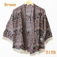 Jual cardigan kimono batik rumbai etnik simple kiwir-kiwir murah brown   Murah