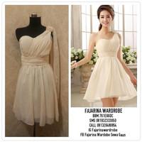 Gaun Bridesmaid Sweet Seventeen Yellow One Shoulder Mini Dress Party