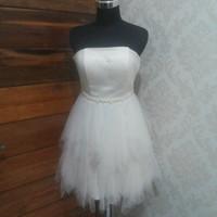 Gaun Pesta Bridesmaid Sweet Seventeen Yellow Mini Dress Party Gown